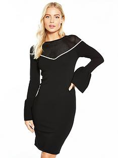 v-by-very-mesh-diamante-trim-flute-cuff-knit-dress