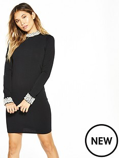 v-by-very-pearl-embellished-cuff-and-neck-knit-dress