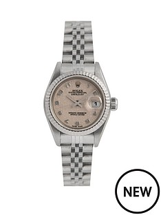 rolex-rolex-pre-owned-ladies-steel-datejust-watch-off-white-jubilee-arabic-dial-reference-69174