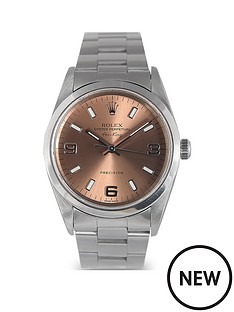 rolex-rolex-pre-owned-oyster-perpetual-air-king-watch-salmon-3-6-amp-9-dial-ref-14000m