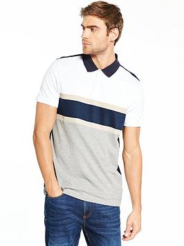 v-by-very-short-sleeve-chest-stripe-pique-polo