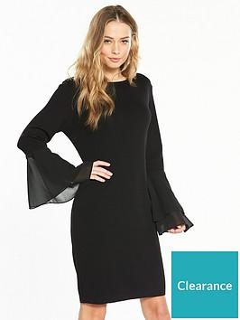 v-by-very-chiffon-flare-cuff-knitted-dress-black