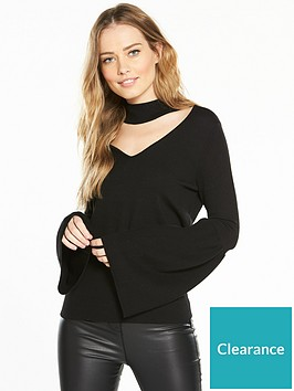 v-by-very-choker-neck-flare-sleeve-jumper-black