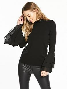 v-by-very-chiffon-tiered-flute-sleeve-jumper