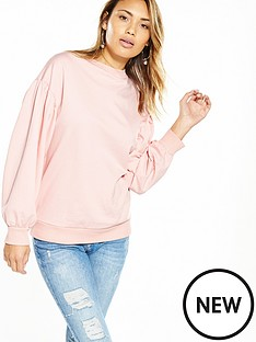 v-by-very-balloon-sleeve-sweat-top-pink