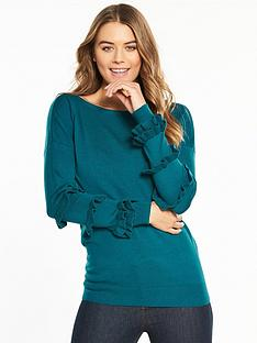 v-by-very-ruffle-sleeve-detail-tie-back-jumper