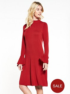 v-by-very-scoop-frill-back-fluted-cuff-fit-and-flare-knitted-dress