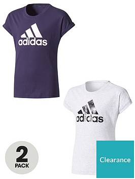 adidas-older-girls-logo-tees-pack-of-2-navygrey-heather