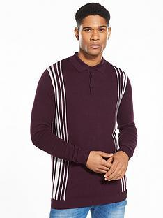 river-island-slim-side-stripe-knitted-polo