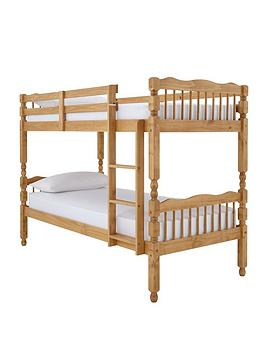 Spindle Solid Pine Detachable Bunk Bed With Mattress Options