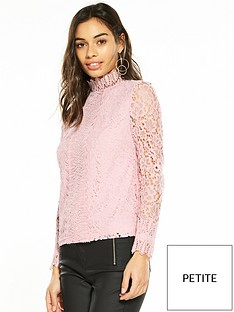 1600196851: V by Very Petite High Neck Lace Top - Blush