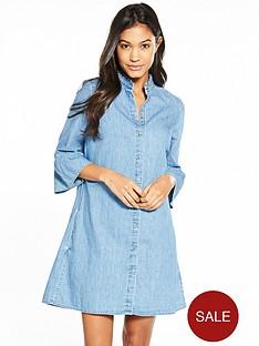 tommy-jeans-rufflenbspthree-quarter-sleeve-denim-dress