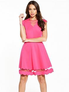 ted-baker-sharlot-mesh-panelled-scallop-dress