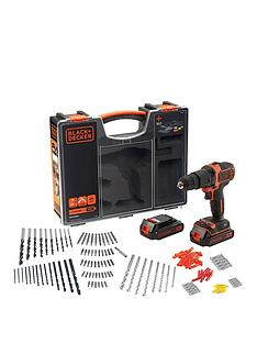 black-decker-18vnbsphammer-drill-2x-batteries-organiser-case-amp-160-accessories