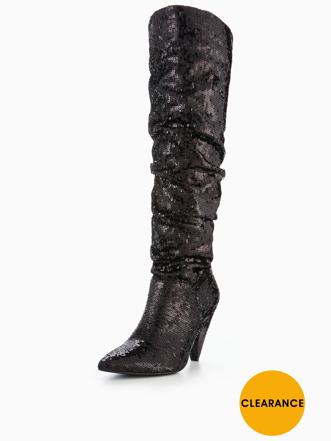 V by Very Icy Sequin Ruched Knee Boot 1600196572 Women's Shoes V by Very Boots