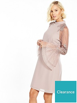 little-mistress-flute-lace-sleeve-shift-dress-mink