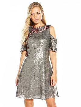 little-mistress-little-mistress-sequin-cold-shoulder-skater-dress