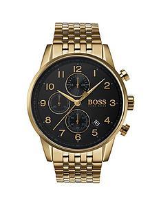 hugo-boss-black-1513531nbspnavigator-black-dial-gold-plated-stainless-steel-bracelet-mens-watch