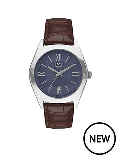 limit-limit-silver-tone-with-brown-croco-effect-strap-mens-watch