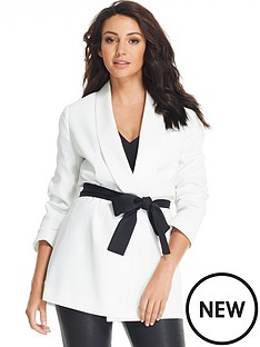michelle-keegan-monochrome-contrast-tie-front-blazer