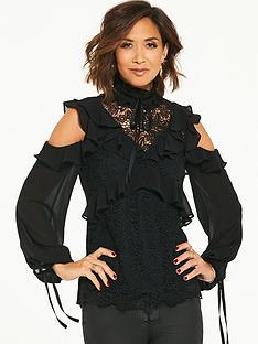 myleene-klass-lace-and-ruffle-blouse-black