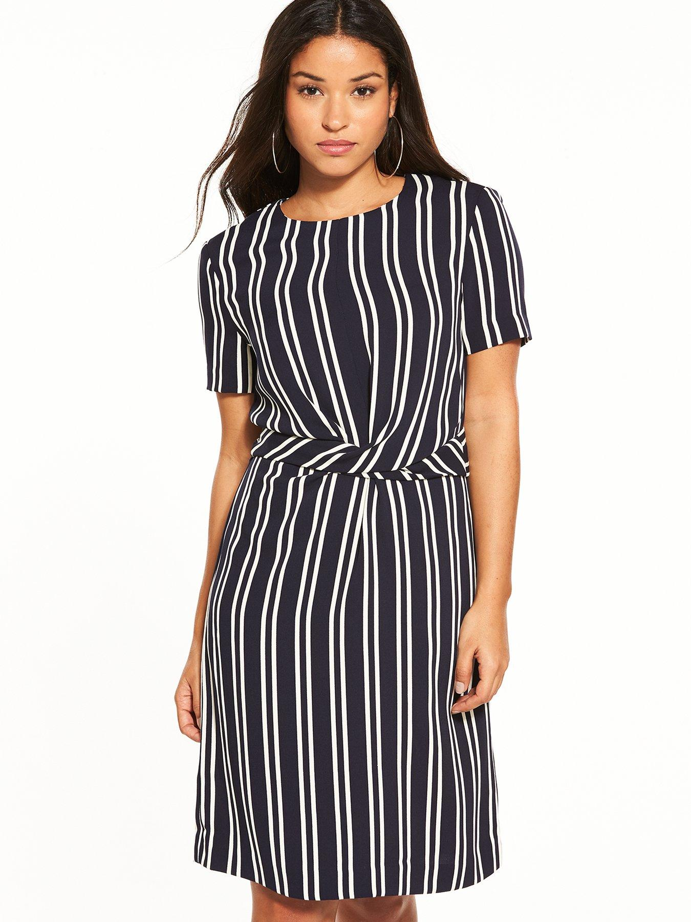 Womens Twist Front Stripe Dress Warehouse ZhKVMaF