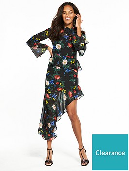 miss-selfridge-print-asymmetric-hem-frill-dress