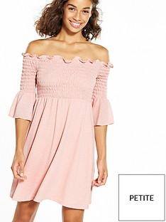 ri-petite-shirred-fluted-sleeve-bardot-dress-pink