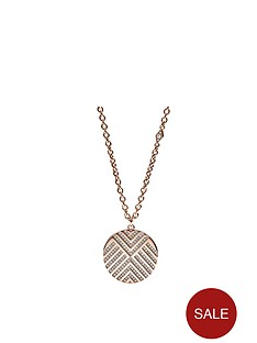 fossil-fossil-stainless-steel-rose-gold-tone-chevron-disc-ladies-necklace