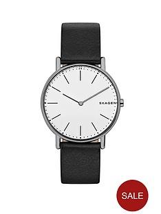 skagen-skagen-signatur-slim-titanium-case-black-leather-strap-mens-watch