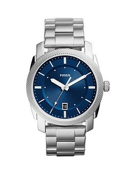 fossil-machine-blue-dial-stainless-steel-bracelet-mens-watch