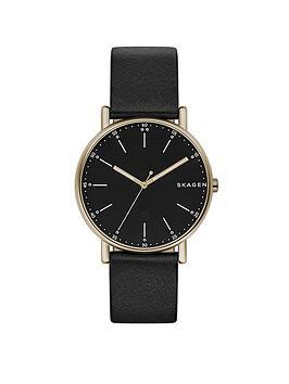 skagen-skagen-signatur-black-leather-strap-mens-watch