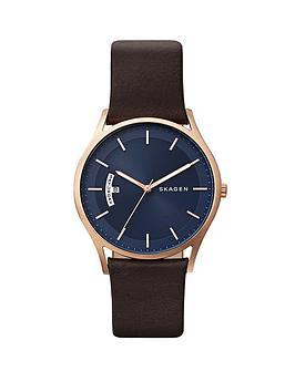 skagen-skagen-holst-blue-dial-brown-leather-strap-mens-watch