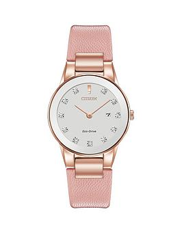citizen-citizen-eco-drive-axiom-diamond-pink-leather-strap-ladies-watch