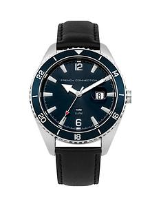 french-connection-blue-dial-leather-strap-mens-watch