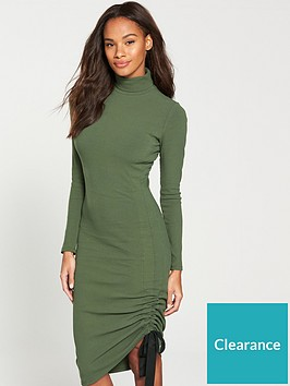 v-by-very-roll-neck-drawstring-midi-dress-khaki