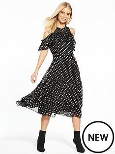 v-by-very-spot-jacquard-frill-midi-dress