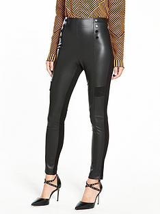 karen-millen-faux-leather-button-detail-legging
