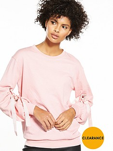v-by-very-eyelet-ribbon-sleeve-sweat
