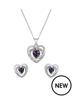 the-love-silver-collection-sterling-silver-lavender-cz-heart-pendant-and-earring-set