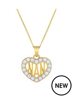 the-love-silver-collection-9ct-gold-plated-sterling-silver-cubic-zirconia-set-039nan039-heart-pendant
