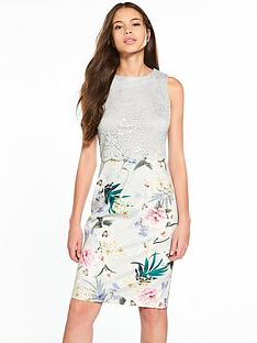 wallis-grey-lace-top-floral-scuba-dress