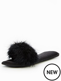 v-by-very-trinity-feather-mule-slipper-black