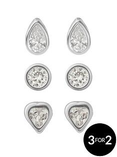 love-silver-sterling-silver-6mm-round-6mm-heart-teardrop-cz-rubover-set-of-3-earrings