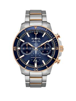 bulova-marine-star-rose-gold-two-tone-and-blue-dial-chronograph-watch