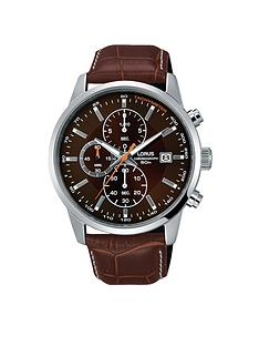 1600200621: Lorus Lorus Mens brown leather strap chronograph watch