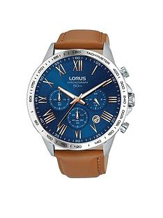 1600200622: Lorus Lorus Mens tan leather strap chronograph watch