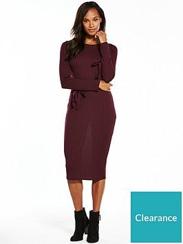 v-by-very-jersey-rib-tie-sleeve-midi-dress