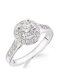 prod1087523964: 18ct White Gold Millgrain Edge 70 Point Diamond Round Halo Ring