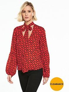 guess-long-sleeve-hazel-printed-top-orange